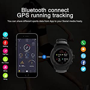 JIASD GPS Running Watch Outdoor Smartwatch Multi Function GPS Training Mode Distance Calorie Speed Time Count with Sleep/Heart Rate Monitor Weather Forecast Message Remind (Black)