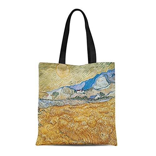 TXOZ Van Gogh Landschaft Serie Aquarell Ölgemälde-Kunst-Leinwand-Taschen-Tasche Große Frauen beiläufigen Schulter-Beutel-Handtasche, Multi Heavy Duty Einkauf Grocery Baumwolltasche for den Außenbereic