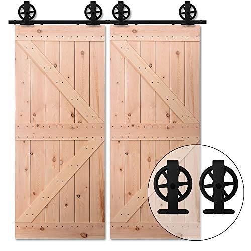 Schuifdeursysteem schuifdeurbeslag looprail, schuifdeur dubbele deur houten deur beslag, zwart 2.43M/8FT (Doppeltür)