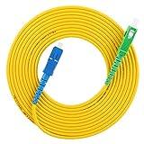 Cable de conexión de fibra, puente de fibra SC/APC a SC/UPC, cable de conexión de fibra monomodo, para LAN de fibra óptica, 20 m / 65,62 pies