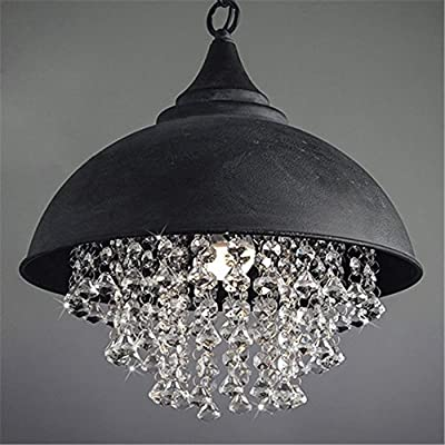 Industrial Ceiling Light, SUN RUN Creative Iron Shaded with Glittering Crystal Chandelier Vintage Metal Pendant Lamp for Dining Room Kitchen, 1-Light Fixture Using E26 Bulb