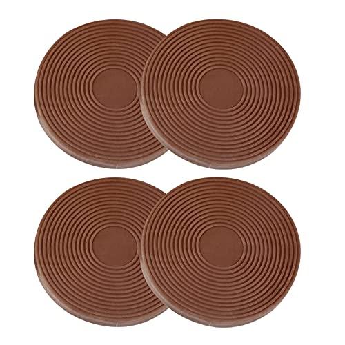 FLAMEER Copas antideslizantes para ruedas de muebles, posavasos redondos, protectores de suelo, topes de ruedas para muebles de 43 mm, para mesa, sofá cama, Marrón claro