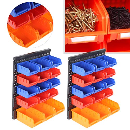 30 piezas de contenedores de almacenamiento montados en la pared, juego de soportes para herramientas de taller de garaje, organizador, cajas de almacenamiento apilables, para almacenamiento de destor
