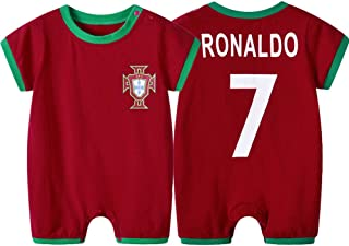 WQJIE WQJIE Rot #7 Ronaldo Kurzarm Baby Jumpsuit Fußball Strampler Baby Frühling Sommer Sportswear Sommer Baby Kleidung Strampler