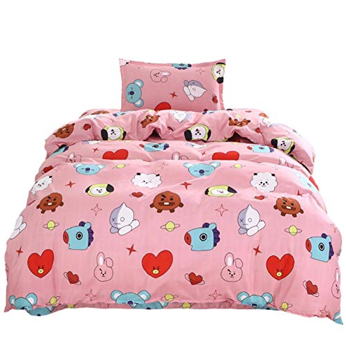 dewdropy Group Three - Piece Bed Linen Quilt Cover Cotton Bedding Cute Korean Style Environmental Printing (150 * 200cm)