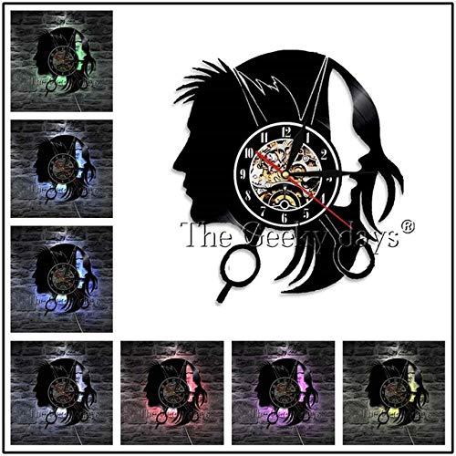 Zhuhuimin 1 kapper vinyl plaat wandklok kapsel wanddecoratie zwart hangend modern design handgemaakte geschenk kappers wandklok geluidsplaat wandklok geluidsplaat wandklok klok klok klok klok 12x12inch Zonder led-licht.