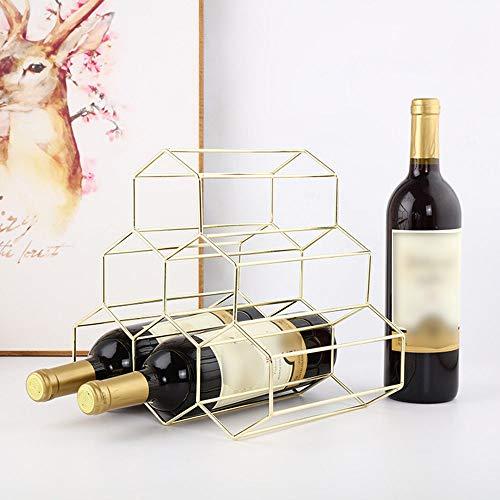 ZWENROU Hierro geométrico 6 Botellas de Vino Estante de Metal Independiente Cocina Almacenamiento Soporte de Vino Gabinete UVA Vinho Estante Pantalla Barra