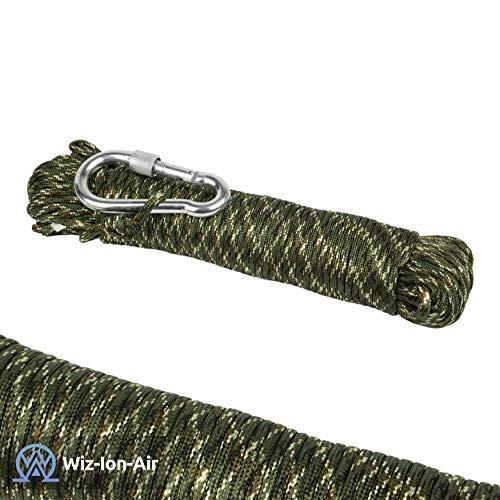 550 Paracord Seil aus reißfestem Nylon Schwarz 9 Stränge 31m lang 4mm dick 9Strang. Inklusive Stahl Karabiner Haken Zum Wandern,fischen,Outdoor Survival Seil order als Strickseil geeignet. (Camo Grün)