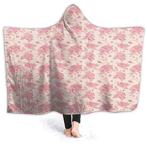 Timdle Sherpa tragbare Decke Poncho für Erwachsene Frauen M?nner Aquarell Junge im Weltraum warm, weich, gemütlich, kuschelig, Komfort Geschenk, Keine ?rmel 60W von 50H Zoll (mit Kapuze)