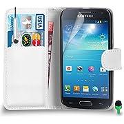 POUR Samsung Galaxy S4 Mini - SHUKAN Prime Cuir BLANC Portefeuille Cas Coque Couverture avec Mini Toucher Style Stylo VERT Cap Protecteur d'écran & Tissu de polissage