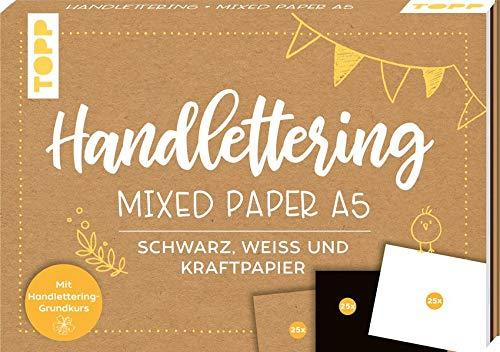 Handlettering Mixed Paper Block A5: 75 feste Papiere zum Lettern (DIN A5, 220 g/m²), je 25x Weiß, Schwarz und Kraftpapier, mit Handlettering-Grundkurs und Inspirationen