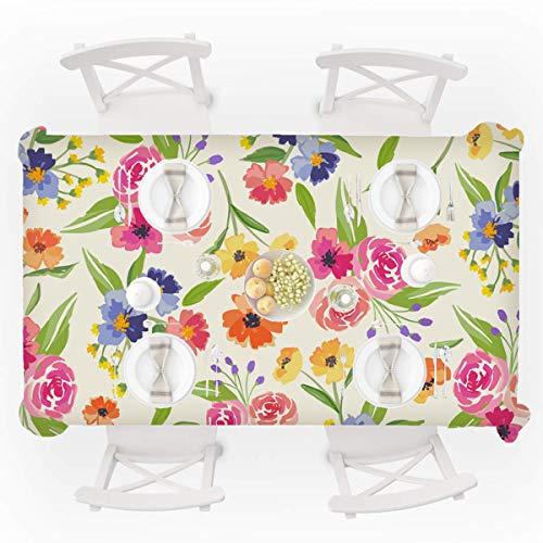 Leotruny Mantel cuadrado a prueba de derrames, tela floral para exterior e interior, Flores Rosa, Rectangle 55x87 inch