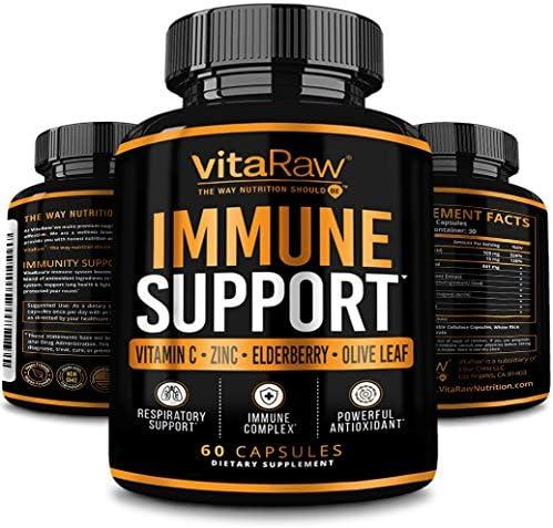 VitaRaw Immune Support Vitamins Zinc Elderberry Vitamin C Echinacea Olive Leaf Goldenseal Powerful product image