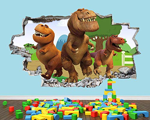 Pegatinas de pared Wall Stickers Dinosaurs Fun Cute 2 Cartoon Nursery Boys Girls Room Decal 3D Art