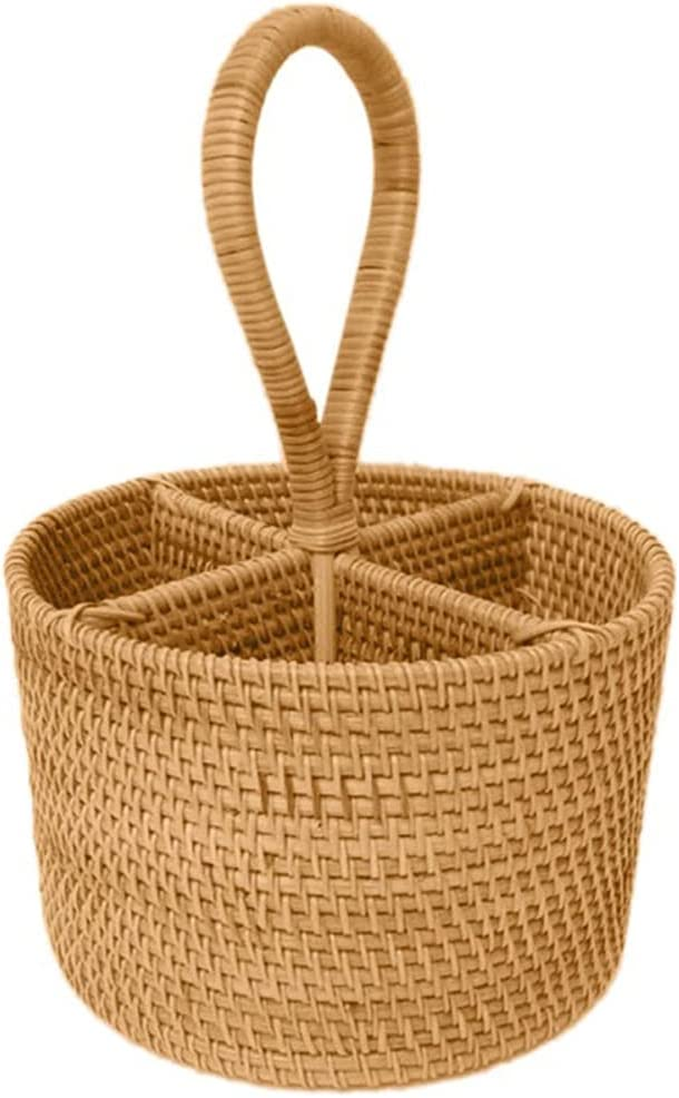 ECSWP Hand-Woven Rattan Storage Basket Four Portable Round Long-awaited Max 65% OFF Compa