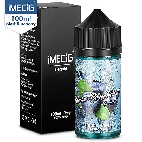IMECIG® Blaubeere Premium E Liquid Vape Eliquid für E Zigaretten/Elektrische Zigarette/E Shisha,Blaubeere Früchte Geschmack, VG/PG 70/30 -ohne Nikotin,100ml,1 Stück(MEHRWEG-VERPACKUNG)