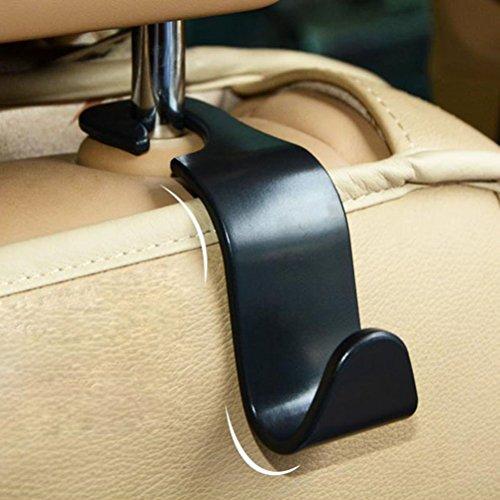 WINOMO 4pcs Vehículo para automóvil Asiento Trasero Asiento reposacabezas Organizador Gancho de Almacenamiento para el Bolso de la Bolsa de comestibles (Negro)