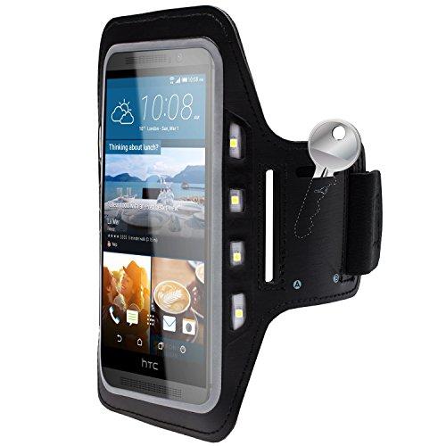 MOBILEFOX Handy LED-Licht Sport Armband Tasche Halter Hülle Case Joggen für HTC One M9 Schwarz