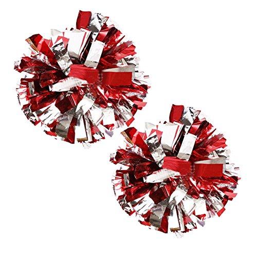 Fancy Pumpkin 1 Paar Team Sport Cheerleading Poms Match Pom Kunststoff Ring Pompoms Silber + Rot