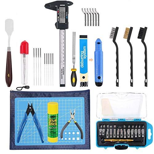 DollaTek Le kit d'outils d'imprimante 3D comprend un kit de nettoyage de retrait, une brosse à aiguille pour le nettoyage des étriers Ensemble complet d'outils d'impression 3D