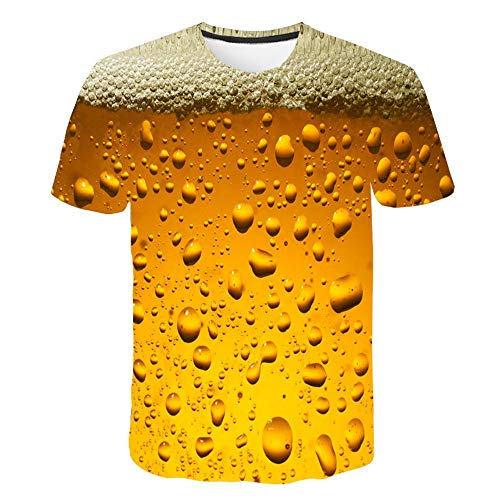 XIAOBAOZITXU T-Shirt 3D Digitale Print Pullover Korte mouw Bier Bubble Geel Slim Fit Cool Grappige Zomer Unisex Paar Kostuum