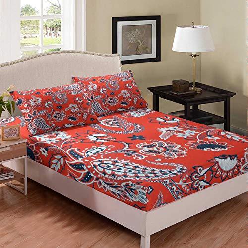 Boho Paisley - Juego de sábanas de estilo bohemio exótico para niños, niñas, adolescentes, dormitorio, decoración de estilo europeo, color rojo, tamaño doble con 2 fundas de almohada