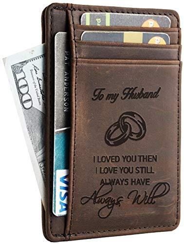 Toughergun Wife To Husband Gift Best Anniversary Christmas Birthday Gifts Slim Wallet(Wife to Husband Hunter Coffee)