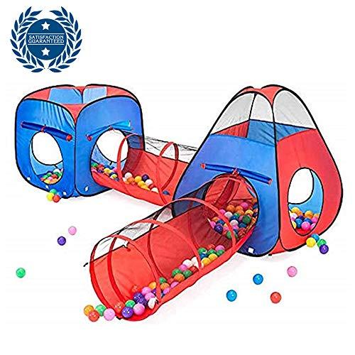 Tienda De Juegos Para Niños De 4 Piezas, Bola Emergente, 2 Carpas + 2 Pasillos De Arrastre: Sala De Juegos Grande Para Niños Pequeños En Interiores Y Exteriores (Con Maleta), Hermosas Ideas De Regalos