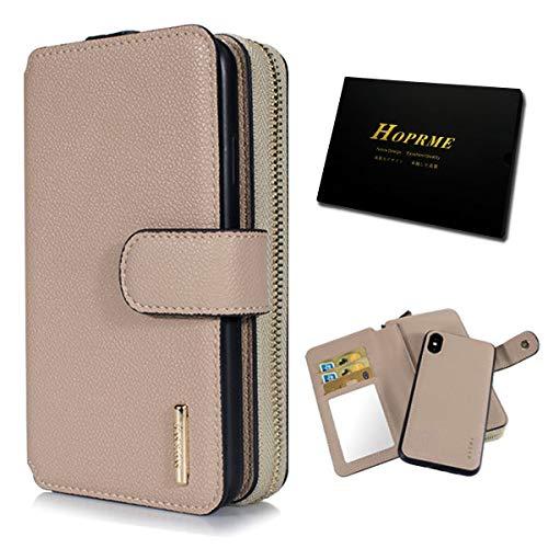 HOPRME - Funda tipo cartera para iPhone 11, 2 en 1, cierre magnético, a prueba de golpes, con función atril, ranura para tarjeta de crédito, dinero, llaves, monedas, correa de mano de 14,7 pulgadas
