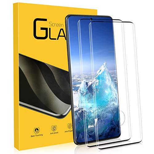 NONZERS Vetro Temperato per Samsung Galaxy S20 Plus, [2 Pezzi] 9H Durezza, 3D [Supporta Il sensore di Impronte digitali sullo Schermo] Copertura Completa Pellicola Vetro, Pellicola Protettiva per S20+