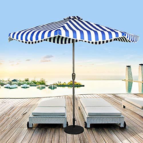 Parasol LWMQ De Terrasse À Rayures De 270 Cm 8 Nervures (38 Mm) Manivelle Manuel, Protection UV Étanche, Poteau De Fer en Métal