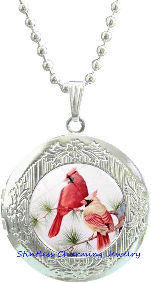 Cardinal Jewelry Cardinal Locket Necklace Cardinal Red Bird Locket Necklace,red Cardinal Bird,Lover Gift Symbolic jewelry-JV78