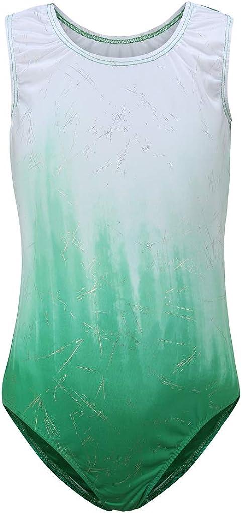Girls Gymnastic Leotards Sleeveless Gradient Color Spark Splash Dance Bodysuit