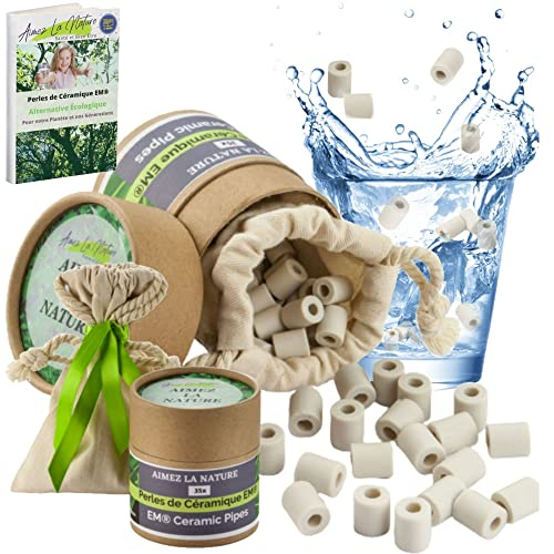 Aimez La Nature 35 Keramikperlen EM® mit ökologischem Pack und Baumwollbeutel, natürlicher Luftreiniger, Wasserfilter für Karaffe, Wasserkocher