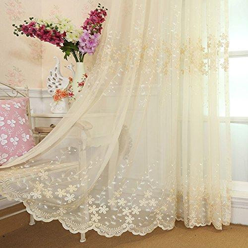 HAOLY Schlafzimmer Vorhang,Wohnzimmer Vorhang,Bestickte Vorhang,Weiße Gaze,Semi-verdunkelung Vorhang,Für Bay-Fenster Balkontür 1pcs-B 300x260cm(118x102inch)