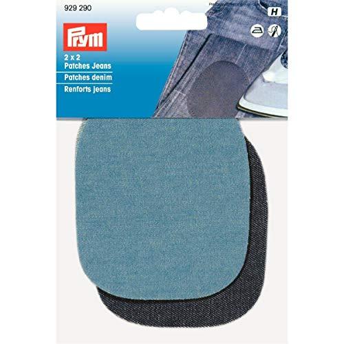 PRYM 9 x 8 cm 2 paar jeans-patches om op te strijken/te naaien, lichtblauw/donkerblauw