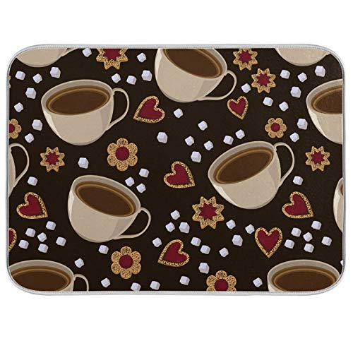 Flower Hearts Brown Dish Drying Mat Kitchen Home Decor Coffee Cookies Absorbent Dishes Dry Pad 16x18 Inch Easy Clean Drainer Mats for Baby Bottle Count