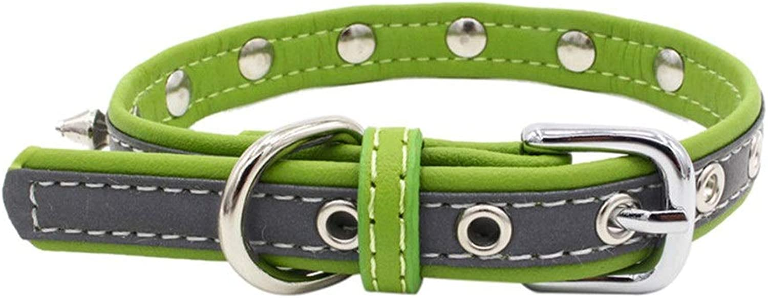 HCHD Exquisite and adjustable pet collar, reflective studded dog puppies collar leather, suitable for small medium sized large dogs (color   Green, Size   XS)