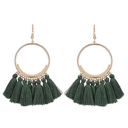 Chytaii Pendientes Mujer Pendientes Largos con Flecos Viento Nacional Pendientes de Círculo de Metal Accesorios Damas Pendientes (Verde)