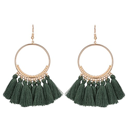 Fablcrew gamuza moda pendientes borla larga cadena