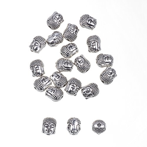 RUBYCA 20PCS Buddha Small Spiritual Metal Beads Silver Color Spacer for Jewelry Making Bracelet