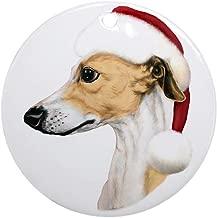 CafePress Tan & White Whippet Santa Ornament (Round) Round Holiday Christmas Ornament