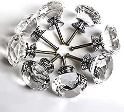 zjchao 8pcs 40mm Pomo de Cristal Vidrio Transparente Tiradores para Puertas Cajones Manilla Diamante