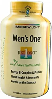 Rainbow Light Just Once Mens One Energy Multivitamin Tablet - 150 per pack - 2 packs per case.