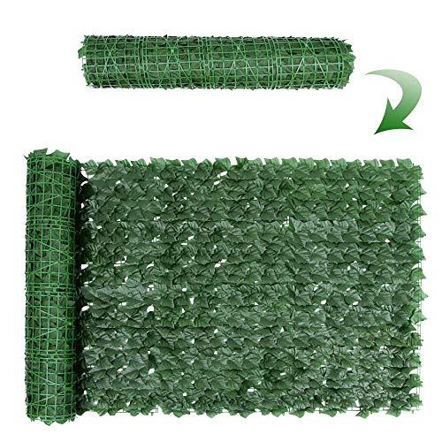Ahageek Künstlicher Efeu-Zaun-Bildschirm, Heckenrolle, die grünes Blatt-Sichtschutz-Gartenzaun abschirmt, Outdoor- und Indoor-Heimbalkon-Wanddekoration, Spalier-Blätter-Panel (Grün + 1 STÜCK)