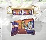 Juego de cama de 3 piezas, Rick and Morty, 100% algodón, tamaño completo