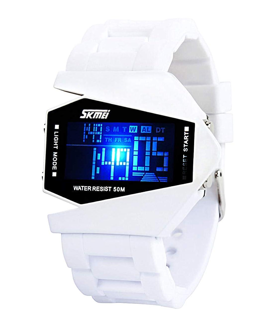 マイナーフェミニン砲兵キッズデジタル腕時計 子供用防水腕時計 夜光アラーム クロノグラフ LED電子アウトドアスポーツ腕時計 5~13歳 ホワイト