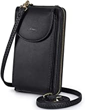 S-ZONE PU Leather RFID Blocking Crossbody Phone Bag for Women Small Cellphone Wallet Purse