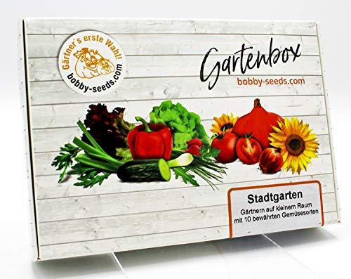 Stadtgarten Samen Set von bobby-seeds, 10 Sorten Gemüsesamen als Set in repräsentativer Gartenbox, Samen-Set mit 10 Sorten und praktischen Stecketiketten