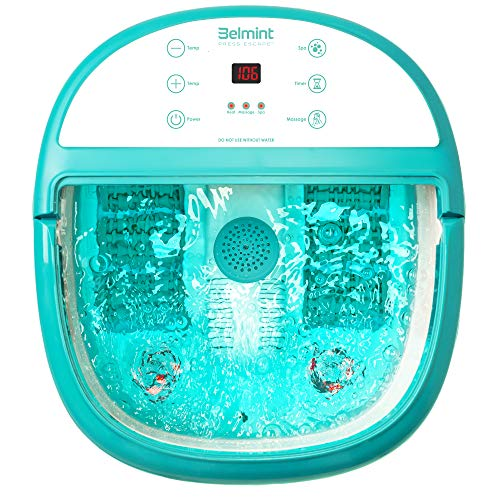 Belmint Foot Spa Bath Massager with Heat - Foot Massager Machine Feet Soaking Tub   Features Vibration, Spa, Roller, Massage Mode   6 Pressure Node Rollers for Stress Relief - Upgraded Version